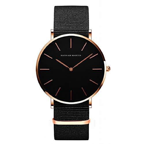Hombre Relojes, L'ananas 2020 Hombres Estilo Minimalista Anolog Negocio Cuarzo Cuero de PU Amable Relojes de Pulsera Wrist Watches con Caja de Regalo (Nylon-Oro Rosa)