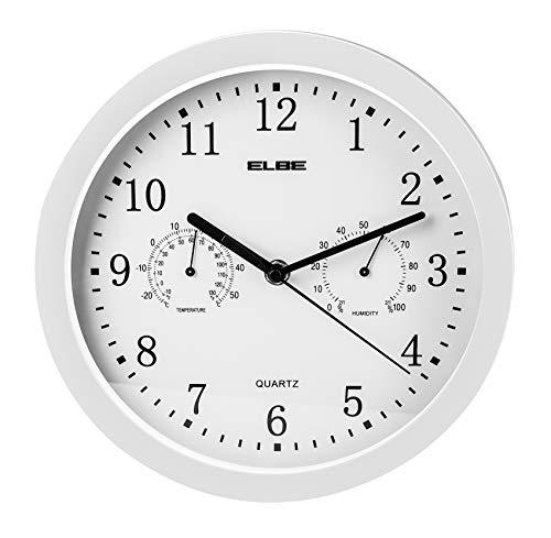 ELBE RP-2005-B Reloj de pared con termómetro e higrómetro, mide temperatura y humedad, 25 cm diámetro, panel blanco marco blanco, funciona con pilas, color blanco