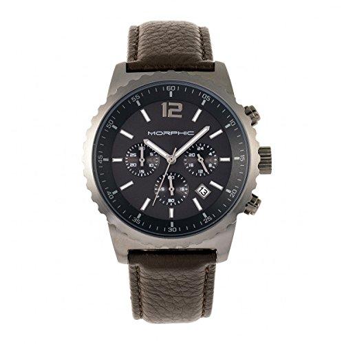 Morphic Reloj cronógrafo serie M67 con correa de cuero con fecha