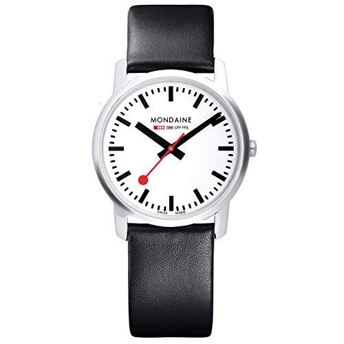 Mondaine Simply Elegant- Reloj de cuero negro para Hombre y Mujer, A400.30351.11SBB, 36 MM