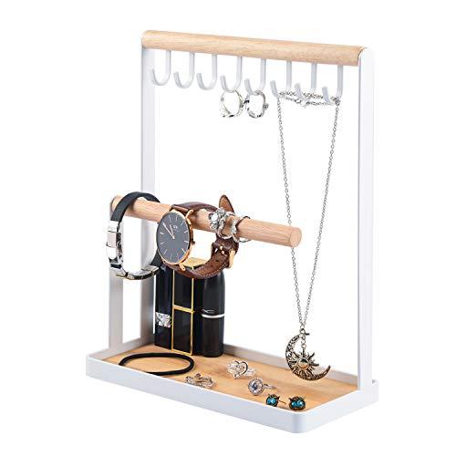 Soporte de joyas,Organizador de Joyas con Palet de Madera,Organizador de Collares,Soporte para Pulseras, Puede Almacenar Collares, Anillos, Pulseras, Relojes y Otras Joyas