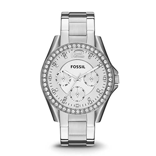 Reloj para mujer FOSSIL Riley, tamaño de caja de 38 mm, movimiento multifunción de cuarzo, correa de acero inoxidable