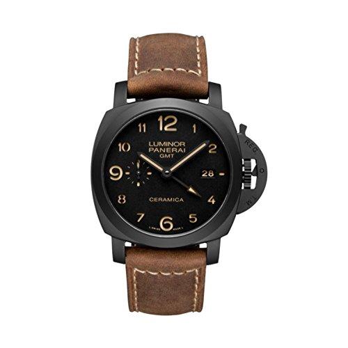 PANERAI Luminor 1950 3 Days GMT Automatic Ceramica - Reloj (Reloj de pulsera, Masculino, Cerámico, Negro, Cuero, Marrón)