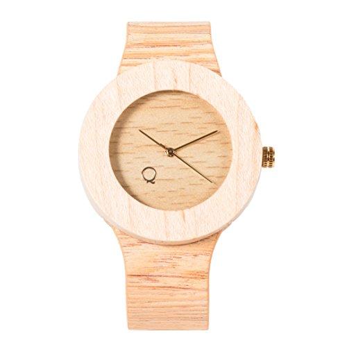 seQoya - Stone | Reloj de Madera con Esfera de Madera y Correa de Piel ecológica simulando Madera Estampada | Reloj Hombre y Mujer | Diseño único y Original