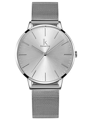 Alienwork Reloj Mujer Plata Banda de Malla Metálica Ultra-Delgada