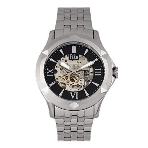 Reign Dantes REIRN4702 - Reloj automático con esfera de esqueleto, color negro y plateado