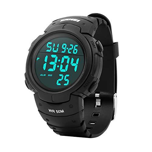 Reloj Digital Hombre,Welltop Reloj Deportivo Hombre Reloj cronometro con Temporizador de Alarma, dial Grande,Impermeable al Aire Libre Reloj Deportivo Hombre con retroiluminación LED (Negro)