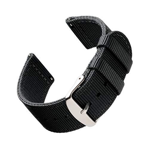 Archer Watch Straps   Repuesto de Correa de Reloj de Nailon para Hombre y Mujer, Correa Fácil de Abrochar para Relojes y Smartwatch   Negro, 20mm