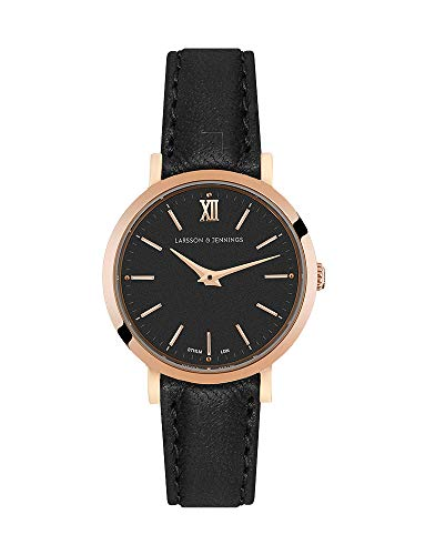 Larsson & Jennings LJXII Lugano Unisex Hombres & Mujer Relojes with 26mm Rose Gold/Black Dial and Black Leather Strap LX26-LBK-RGB.