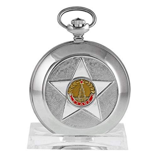 MOLNIJA 3602 Orden SLAVA Zumbre - Reloj de bolsillo con diseño de estrella en plata y marfil