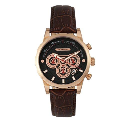 Morphic M60 Series - Reloj cronógrafo con Correa de Piel y Fecha, Color Oro Rosa y marrón