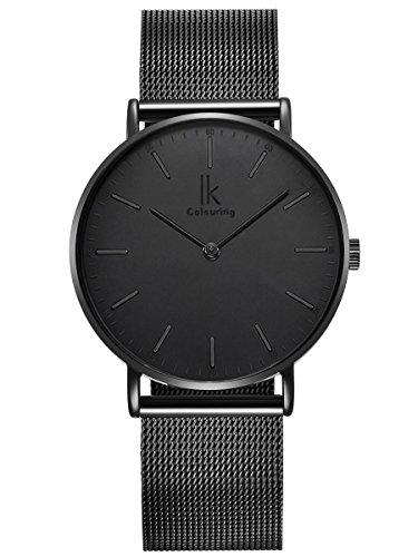 Alienwork IK All Black Reloj Hombre Mujer Negro Banda de Malla Metálica Ultra-Delgada