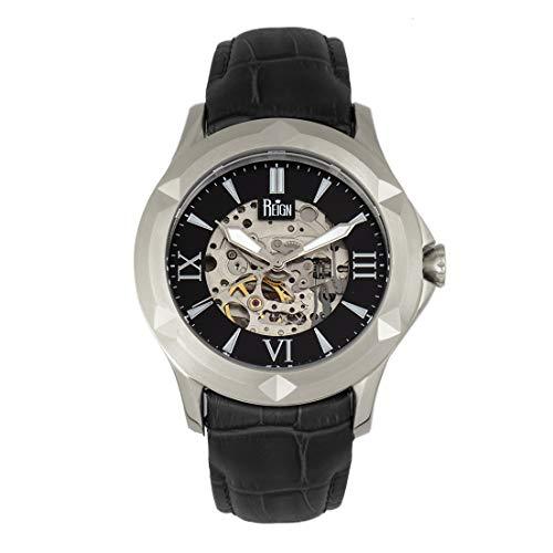 Reign Dantes REIRN4704 - Reloj automático con esfera de esqueleto, color negro y negro
