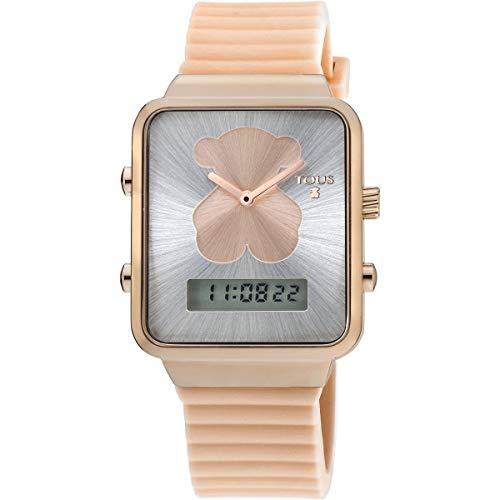 Reloj TOUS digital I-Bear de acero IP rosado con correa de silicona nude Ref:700350140