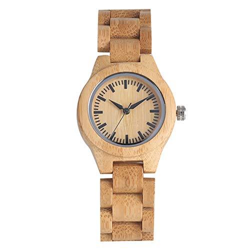 Reloj ligero de madera de bambú para mujer, hecho a mano, madera de bambú natural, relojes de cuarzo para damas, correa de bambú única reloj de pulsera de madera para mujer- JLySHOP