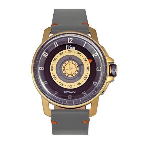 Reign Monarch - Reloj automático de cuero de cristal de zafiro con cúpula, Gris/dorado/negro/plateado SKU: reirn5202, Correa