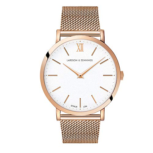 Larsson & Jennings LJXII Lugano Unisex Hombres & Mujer Relojes with 40mm Satin White dial and Rose Gold Rose Gold Plated Stainless Steel Strap LX40-MRG-RGW.