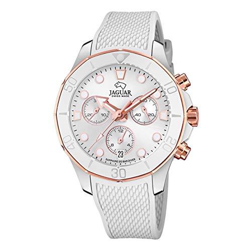 JAGUAR Reloj Modelo J890/1 de la colección Woman, Caja de 38,50/38,50 mm Plata con Correa de Caucho Blanco para señora