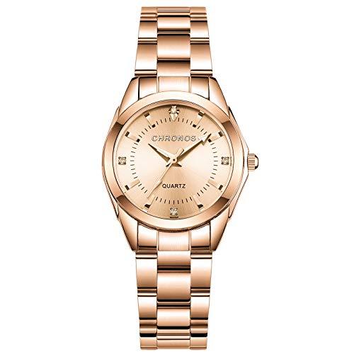 RORIOS Reloj de Mujer Analogico Cuarzo Reloj con Correa en Acero Inoxidable Impermeable Moda Relojes de Pulsera para Mujeres Elegante Vestir Relojes de Pulsera