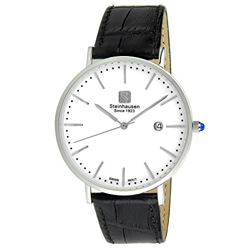 Reloj Steinhausen S0518 Classic Burgdorf Swiss Quartz de acero inoxidable para hombre con correa de cuero negra