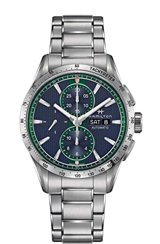 Hamilton Broadway - Reloj de hombre con esfera azul con detalles verdes, caja y pulsera de acero, ref. H43516141