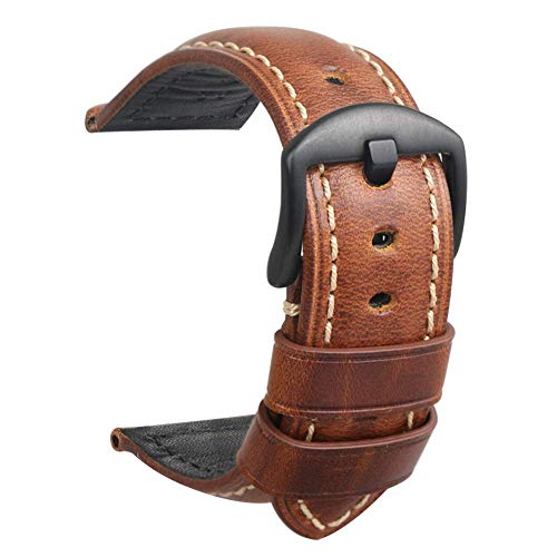 Reloj Correa Cuero Reloj para Hombre Band Repuesto Vintage Panerai Hebilla Acero Negro para Todo Tipo Deportivo Tradicional Accesorios 22mm Marrón