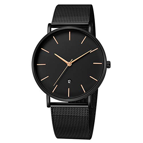Unendlich U-Reloj Impermeable para Hombres Relojes Deportivo de Cuarzo Analógico Relojes Lujoso Moda Casual Reloj Redondo Negro Fecha Resistente al Agua