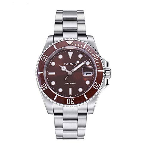 Relojes Parnis 40Mm Reloj Automático De Cerámica para Hombres Relojes Deportivos Hombre De Primeras Marcas Goma Luminosa 30M Natación Correa De Acero Impermeable
