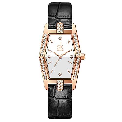 SK Plaza Reloje Mujere Correa de Malla de Acero Inoxidable Banda de Cuero Rectangular Relojes de Pulsera para Mujeres(White-Leather)