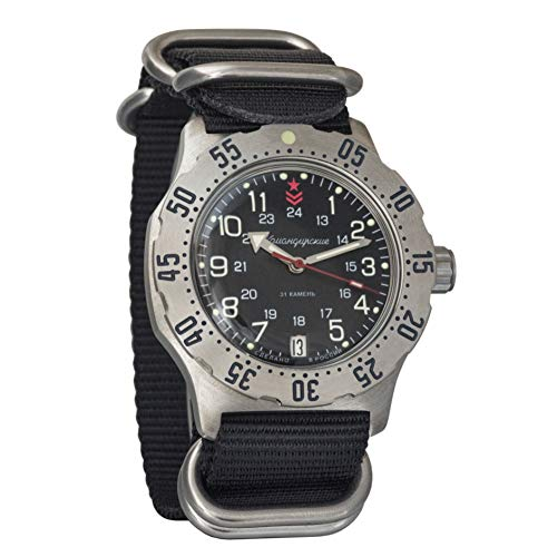Vostok Komandirskie K-35 - Reloj de Pulsera automático Militar Ruso Auto Negro Zulu OTAN Band #350751