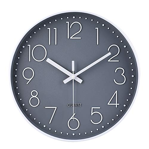 Reloj de Pared Moderno,Grandes Decorativos Silencioso Interior Reloj de Cuarzo de Cuarzo Redondo No-Ticking para Sala de Estar,Panel Gris Marco Blanco, Funciona con Pilas, 30 cm