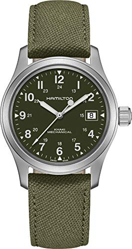 Hamilton Khaki Green Field Officer Reloj mecánico para hombre H69439363 38mm Relojes para hombre