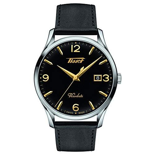Reloj Tissot Heritage Visodate T1184101605701 de Hombre, con Esfera Negra y Correa de Piel.