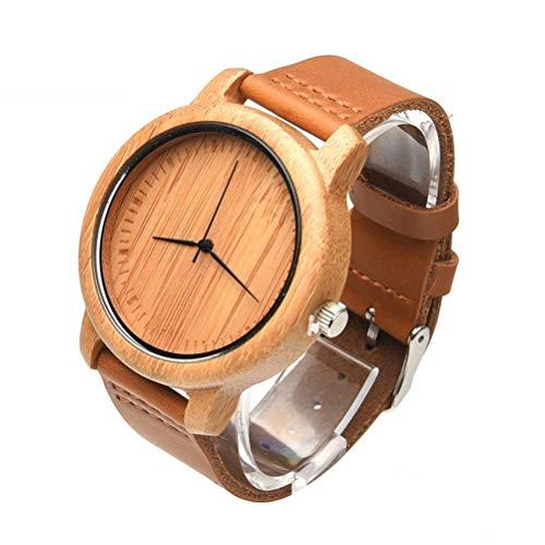 PartyKindom Reloj de pulsera para hombre hecho a mano casual de Fashional de cuero genuino correa de cuarzo movimiento de madera para regalos