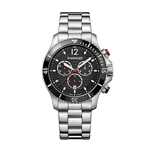 Wenger Hombre Seaforce Chronograph - Reloj de Acero Inoxidable de Cuarzo analógico de fabricación Suiza 01.0643.109