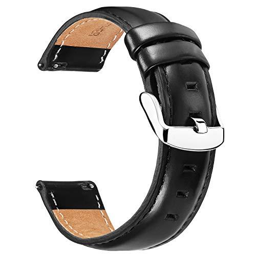 BINLUN Correas de Reloj de Cuero Correas de Reloj de reemplazo de liberación rápida de Cuero Suave para Hombres y Mujeres en Negro marrón Rojo 12mm 13mm 14mm 17mm 18mm 19mm 20mm 22mm