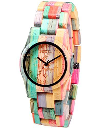 Alienwork Reloj Mujer abigarrado Pulsera de Madera Bambú Natural Hecho a Mano