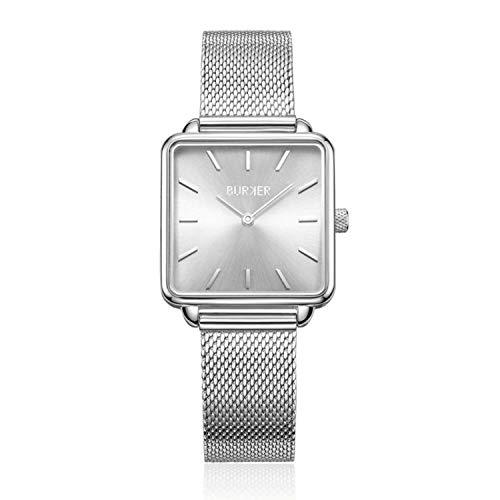BURKER Chloe - Ladies Watch | 28mm Watch for Ladies with Dial | Ladies Quartz Watch Water Resistant (30M) | Pequeña Caja Plana para Relojes - Watches Brazalete Incluido (Silver)