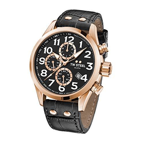 TW Steel Reloj Cronógrafo para Unisex Adultos de Cuarzo con Correa en Cuero VS74