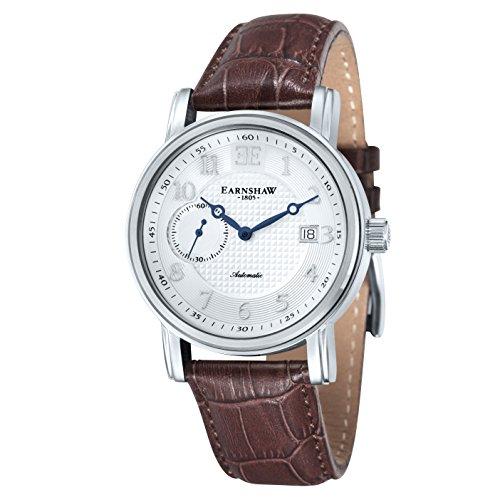 Thomas Earnshaw ES-8027-02 - Reloj para Hombre con Esfera analógica de Color Blanco y Correa de Cuero marrón