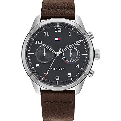 Tommy Hilfiger Reloj Analógico para Hombre de Cuarzo con Correa en Piel de Becerro de Cuero 1791785