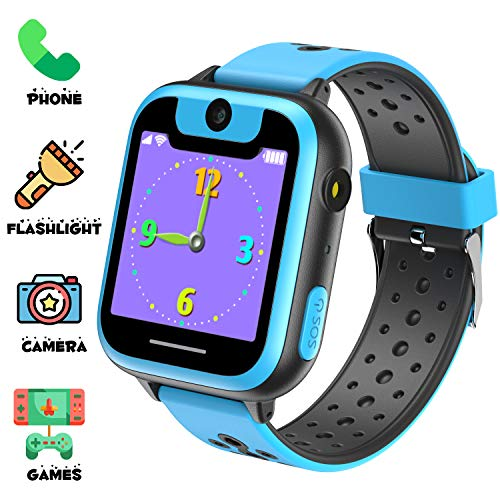 Niños Inteligente Relojes, Juegos de Pantalla táctil wach Sim Pantalla táctil Actividad de Chat de Voz de Llamada SOS para niños Escolares de 3 a 14 años de Edad(Azul Negro)