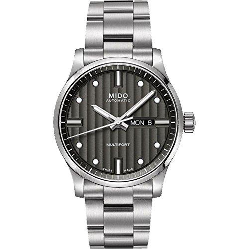 Mido Multifort M005.430.11.061.80 - Reloj analógico para Hombre (42 mm, Correa de Acero y Carcasa), Color Gris