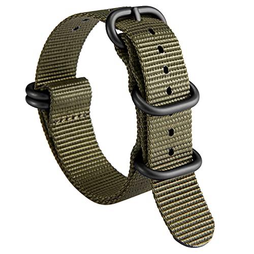 Nylon Correa de Reloj de Nailon Zulu Military G10 Premium Ballistic Multicolor Bandas para Hombres Mujeres 18 mm 19 mm 20 mm 21 mm 22 mm 23 mm 24 mm con Hebilla de Acero Inoxidable Plateado/Negro