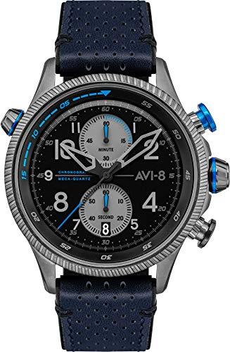 AV-4080-02 - Reloj mecánico para hombre, 44 mm, esfera negra, correa de piel azul