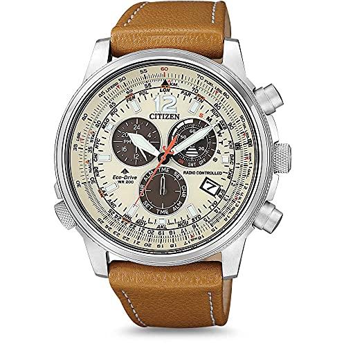 Citizen Reloj Cronógrafo para Hombres de maquinaria Japonesa de Cuarzo con Correa en Cuero CB5860-35X