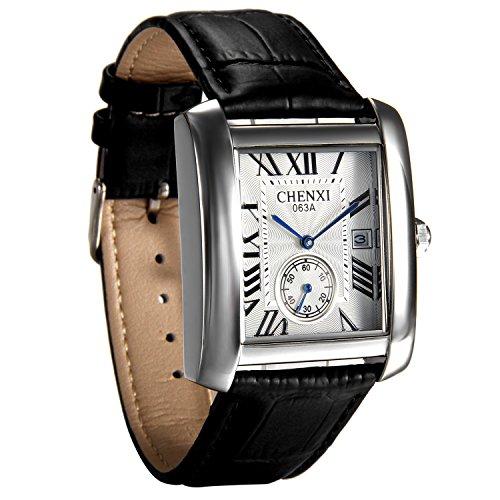 Reloj de Pulsera Cuadrado Clásico, Reloj Analogico Cuarzo Correa de Piel Negra, Mens Causal Vintage Números Romanos, con Calendario, Avaner