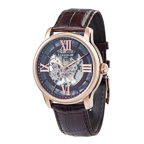 Thomas Earnhshaw – Reloj mecánico de hombre Longitude con esfera marrón, mecanismo a la vista y correa de cuero marrón, ES-8062-02