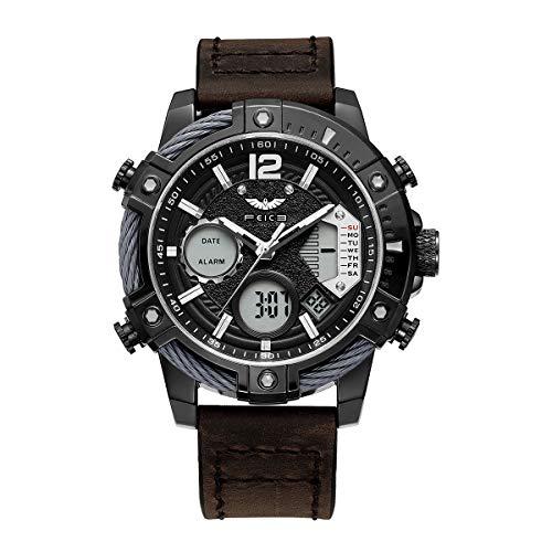 FEICE Reloj de Cuarzo para Hombre Reloj de Pulsera de Hombre Reloj Deportivo Multifuncional 48mm FK038