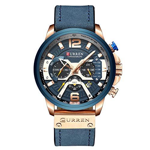 Curren - Reloj militar para hombre con cronógrafo de cuarzo y correa de piel, azul, Correa